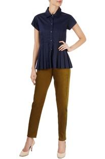 Navy blue shirt with box pleats