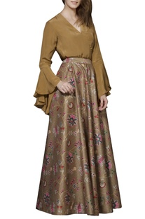 Brown chintz skirt set