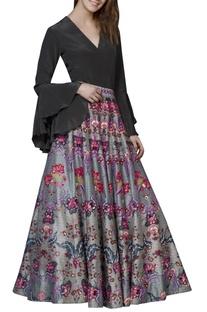 Grey chintz embroidered skirt