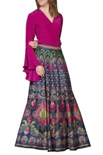 Multi-colored embellished maxi skirt