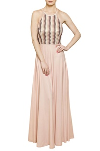Blush pink halter neck gown