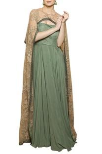 Smoke green & beige cape gown