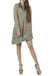 Sage green embroidered short dress