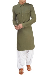 Military green long kurta