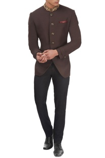 Brown embroidered bandhgala jacket