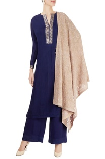 Navy blue & beige kurta set with chikankari embroidery
