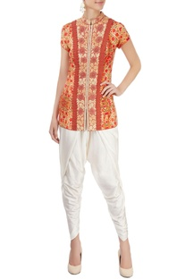 Orange printed pant set with embroidery