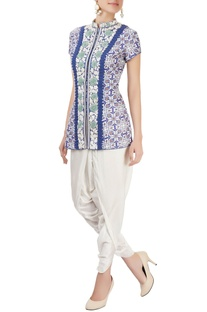 Blue embroidered pant set
