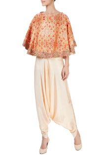 Orange pant set with embroidered cape