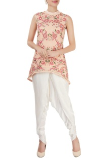 Peach floral embroidered top with pants