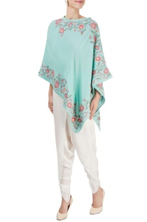 Green embroidered cape top with pants