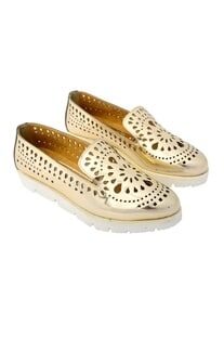 Mirror gold cutwork flats