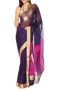 Purple & pink sari with blouse piece