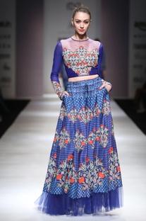 Royal blue embellished crop top & skirt