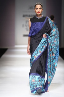 Black & blue sari with blouse