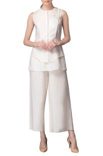 Ivory linen applique work top