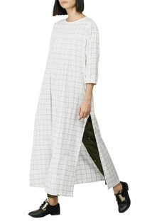 White & olive checkered kurti