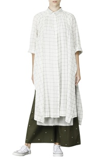 White & olive gathered kurti