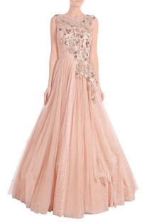 Blush pink embroidered a-line gown