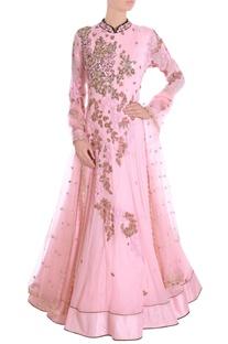Apricot blush embroidered kaladana set