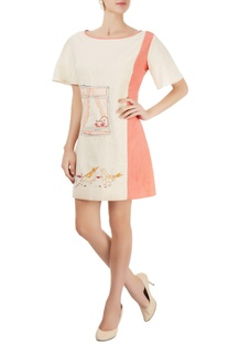 Ivory & coral pink embroidered dress