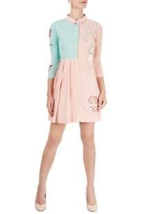 Blush pink & aqua blue shirt dress