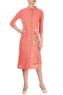 Coral pink embroidered midi dress