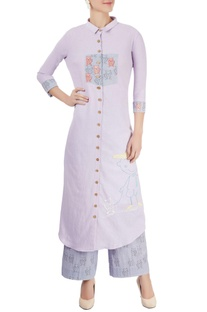 Lavender embroidered kurta with palazzo pants