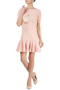 Blush pin ruffled short dress