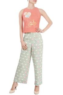 Coral pink cropped top & blue printed pants