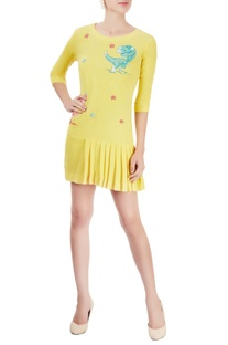 Yellow embroidered short dress