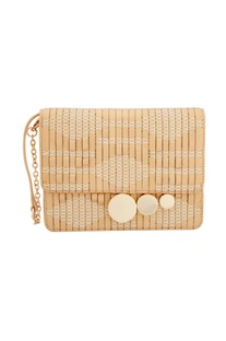Gold clutch with woven details