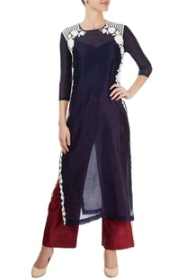 Midnight blue kurta with white appliques