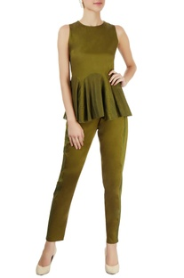 Military green pants with lace trims