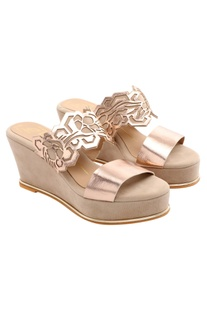 Rose gold laser cut wedges