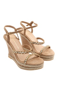 Beige wedges with jute & stone detailing