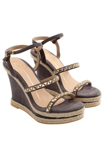 Grey wedges with jute & stone detailing