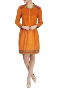 Orange dress with hand embroidery