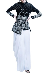 Ivory sari with black velvet jacket