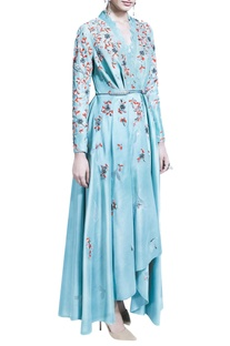 Blue wrap dress with dhoti pants