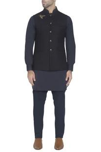 Navy blue waistcoat with bird detail