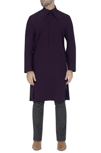 Deep purple draped kurta