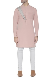 Pink kurta with drape detail