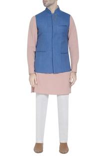 Cobalt blue waistcoat with lapel pin