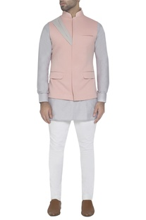 Pastel pink waistcoat with drape detail