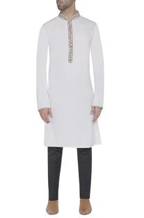 White kurta with embroidered detail
