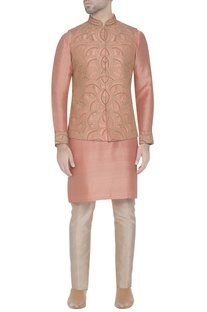 Salmon pink embroidered waistcoat