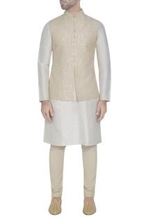 Cream silk embroidered waistcoat