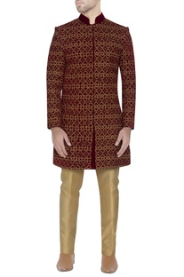 Maroon embroidered velvet sherwani