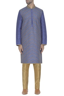 Cerulean blue embroidered kurta